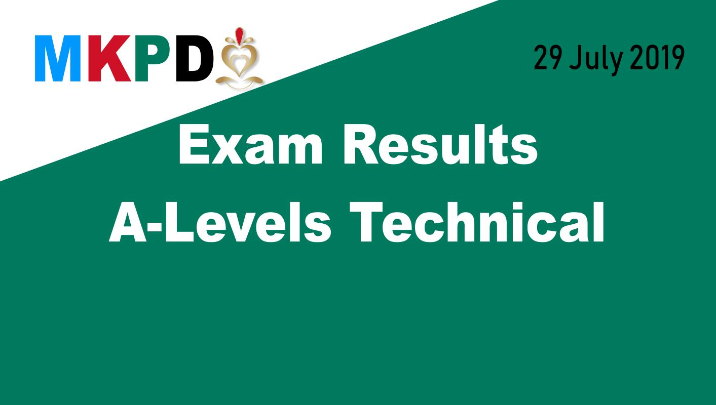 Exam Results A-Levels Technical - 29 July 2019